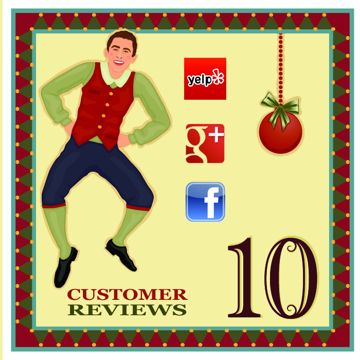 """On the tenth day of Christmas, my web strategist said to me - """"Ask your clients to give your business an online review. Testimonials are a credible, unbiased recommendation for you and your product."""""""