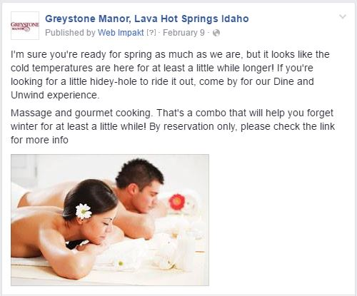 Greystone Manor Facebook Boost Post